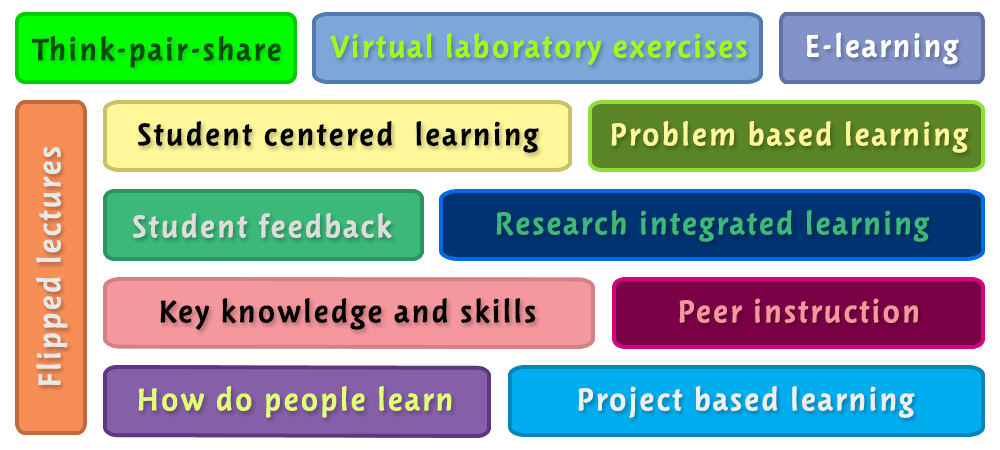 Think-pair-share, Peer instruction, Student feedback, Flipped lectures, How do people learn, Key knowledge and skills, E-learning, Problem based learning, Research integrated learning, Virtual laboratory exercises, Student centrered learning, Project based learning - workshop - NBS